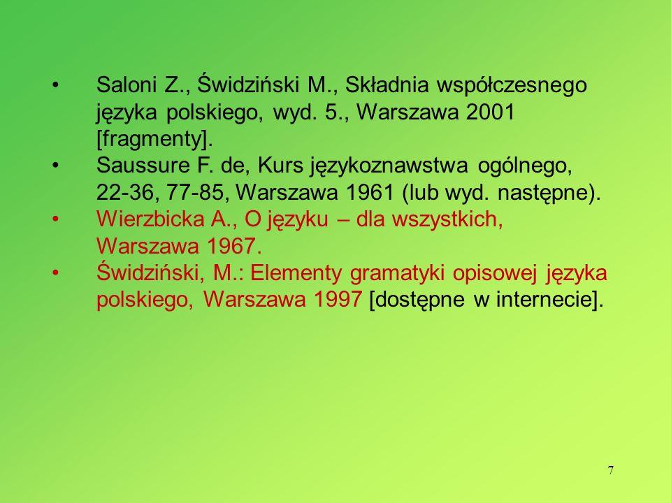 Saloni Z., Świdziński M., Składnia współczesnego języka polskiego, wyd. 5., Warszawa 2001 [fragmenty].
